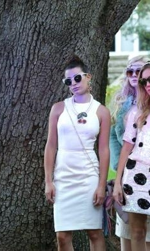 Lea Michele with Super By Retrosuperfuture Metric Cat-Eye Sunglasses in Scream Queens