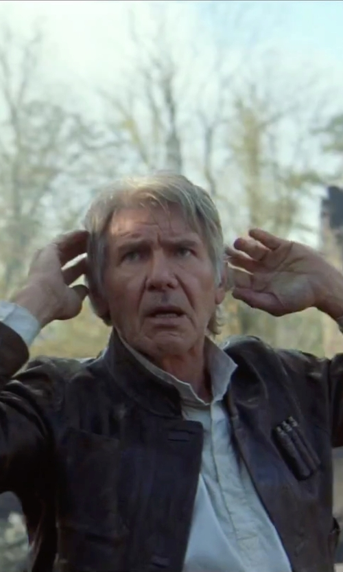 Harrison Ford with Maison Kitsuné White Oxford Embroidered Shirt in Star Wars: The Force Awakens