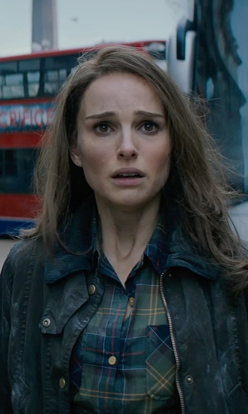 Natalie Portman with Barbour 'Beadnell' Waxed Cotton Jacket in Thor: The Dark World