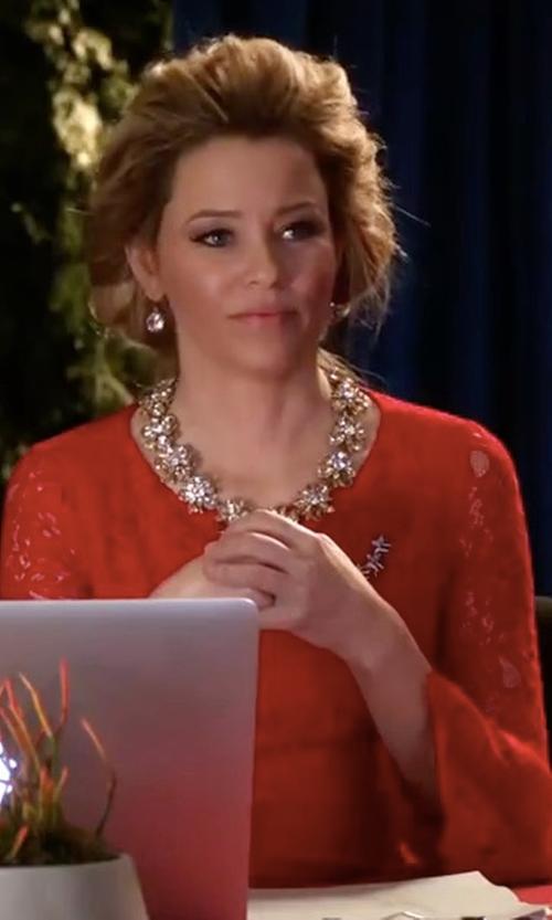 Elizabeth Banks with Antonio Melani Dakota Lace Bell Sleeve Dress in Pitch Perfect 3