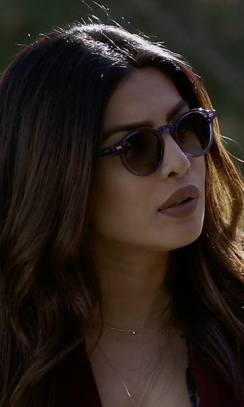 Priyanka Chopra with Super by Retrosuperfuture Panama Synthesis Round Sunglasses in Quantico