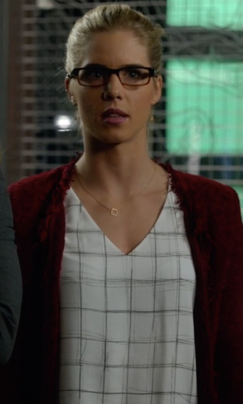 Emily Bett Rickards with Babaton Randy Blouse in Arrow