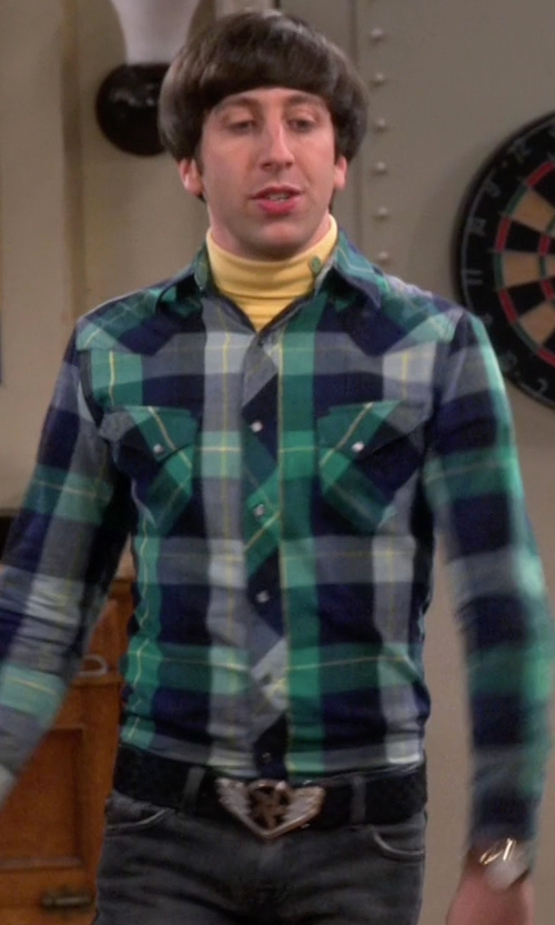 Simon Helberg with King Baby Studio Crowned Heart Leather Belt in The Big Bang Theory