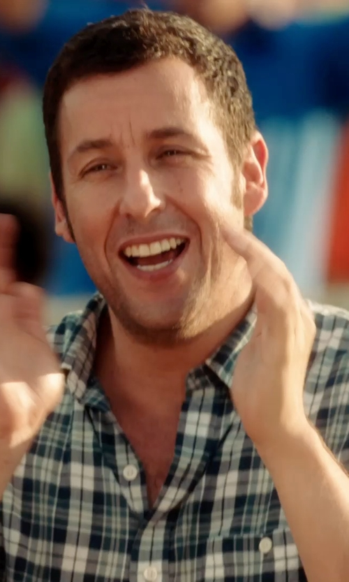 Adam Sandler with Dockers Plaid Casual Button-Down Shirt in Blended