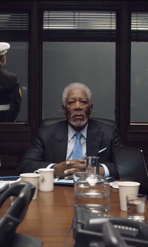 Morgan Freeman with Canali Cotton Point Collar Dress Shirt in London Has Fallen