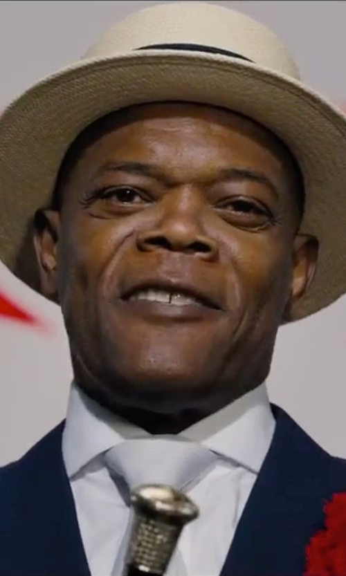 Samuel L. Jackson with San Diego Hat Company Braided Paper Panama Fedora Hat in Chi-Raq