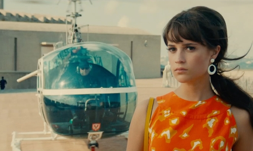 Alicia Vikander with Hiller 1960 UH-12E4 Helicopter in The Man from U.N.C.L.E.