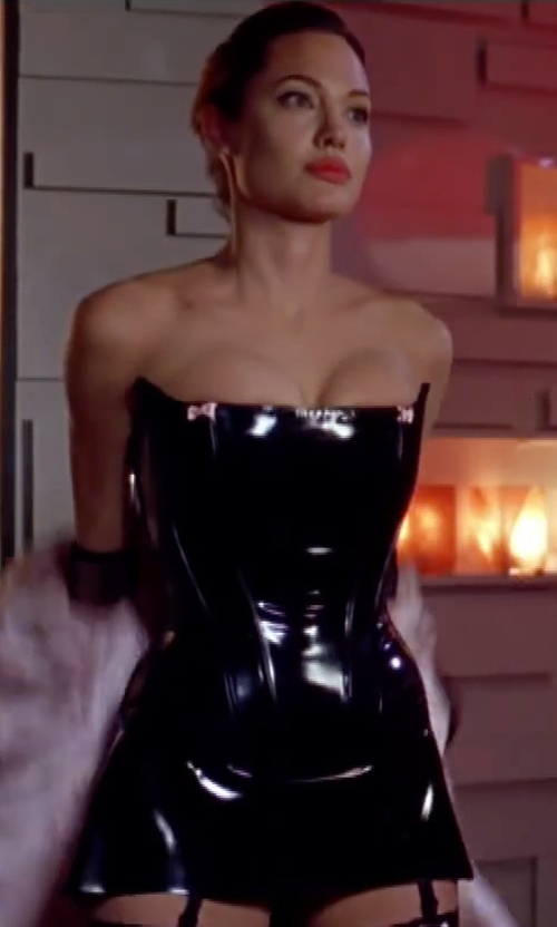 Angelina Jolie with Syren Latex Corset Dress in Mr. & Mrs. Smith