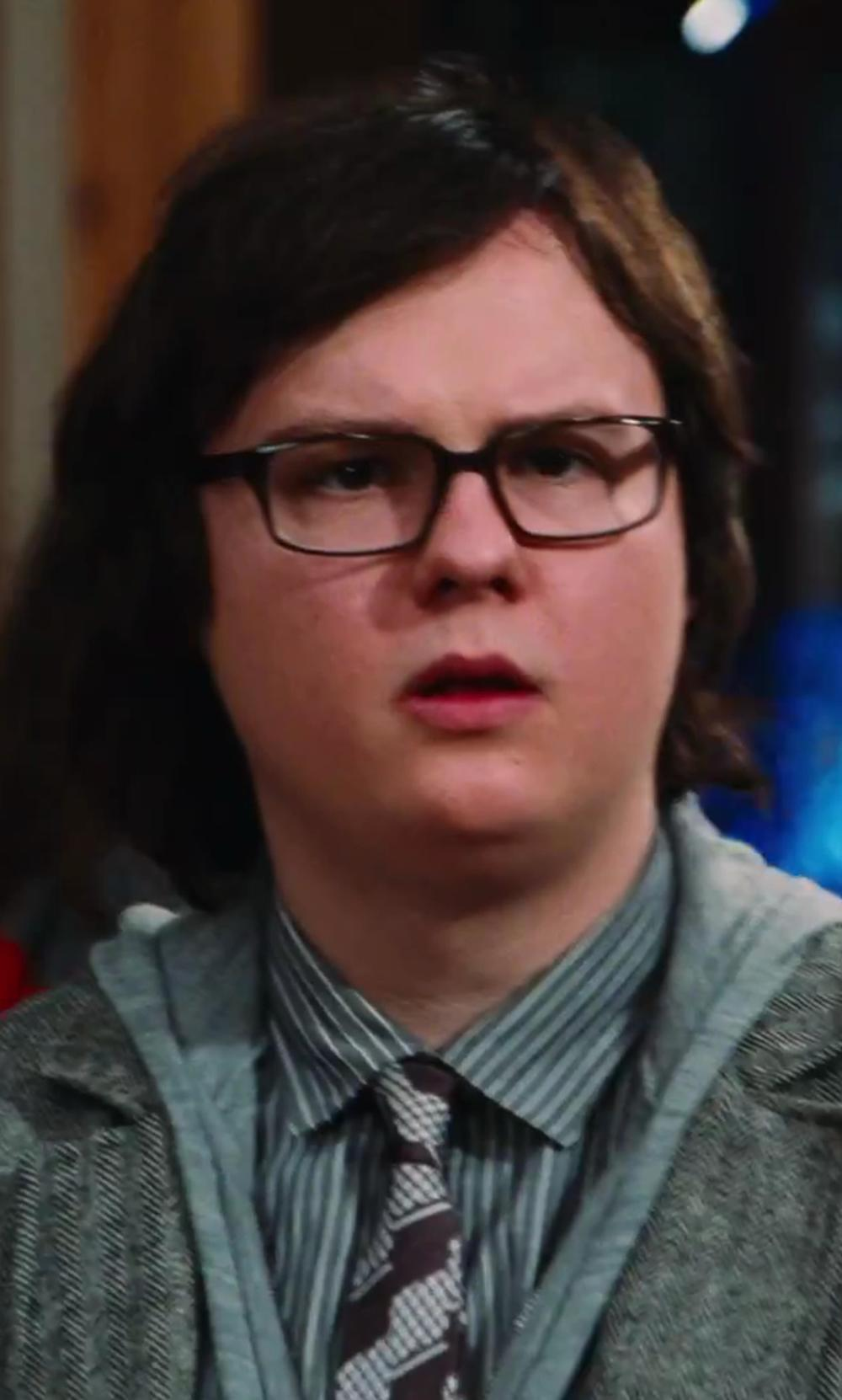 Clark Duke with Geoffrey Beene Non-Iron Grey Stripe Dress Shirt in Hot Tub Time Machine 2