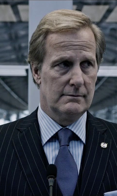 Jeff Daniels with Calvin Klein Men's Multi Stripe Slim Fit Wool Suit in The Martian