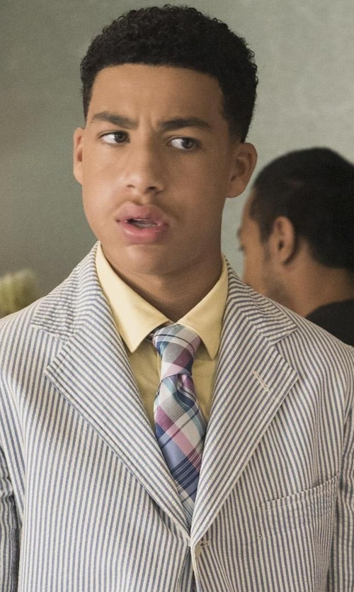 Marcus Scribner with Merona Men's Pink and Purple Plaid Tie in Black-ish