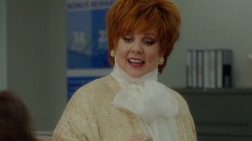 Melissa McCarthy with Peserico Fringe-Trim Scarf in The Boss