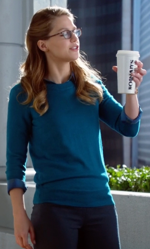 Melissa Benoist with J.Crew Featherweight Merino Wool Crewneck Sweater in Supergirl