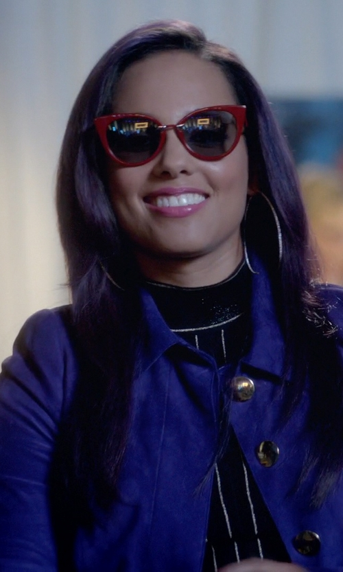 Alicia Keys with Fendi Zig Zag Cat Eye Sunglasses in Empire