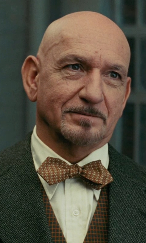 Ben Kingsley with David Donahue Horizontal Twill Trim Fit Tuxedo Shirt in Shutter Island