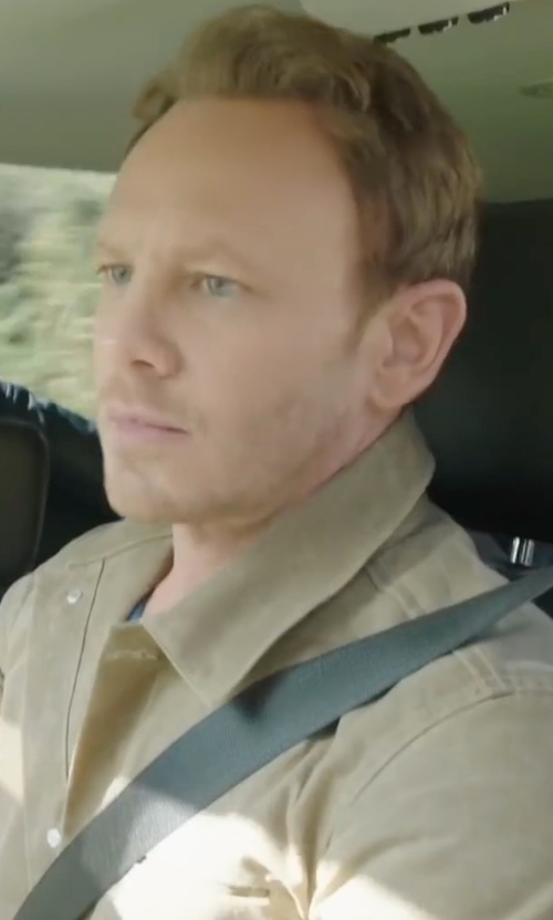 Ian Ziering with Peter Millar Suede Button-Down Shirt Jacket in Sharknado 4: The Fourth Awakens