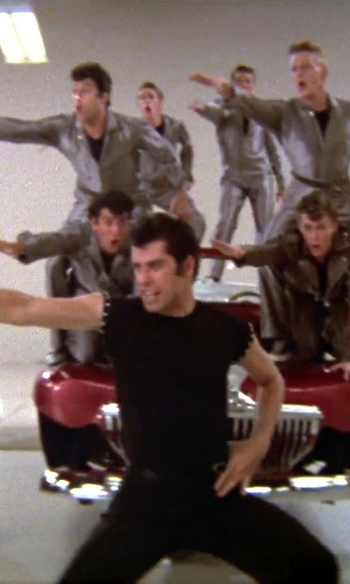 John Travolta with Antony Morato Studded Front Muscle Top in Grease