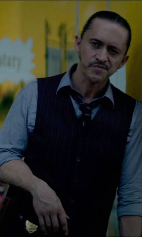 Clifton Collins Jr. with John Richmond Stripe Vest in Triple 9