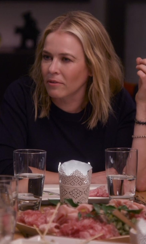 Chelsea Handler with Michael Stars Slub 3/4 Sleeve Crew Neck Top in Chelsea