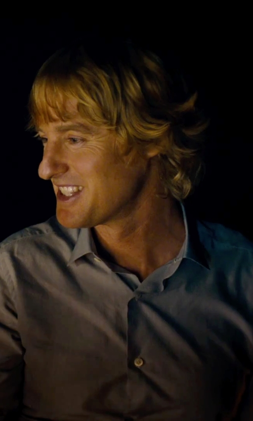 Owen Wilson with Land's End Traditional Fit Spread Collar Solid Supima No Iron Pinpoint Dress Shirt in She's Funny That Way