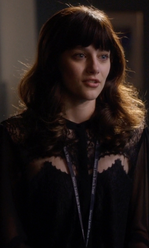 Aubrey Peeples with The Kooples Lace And Chiffon Shirt in Nashville