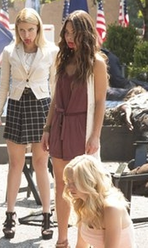 Scarlett Byrne with Forever 21 Sleeveless Surplice Romper in The Vampire Diaries