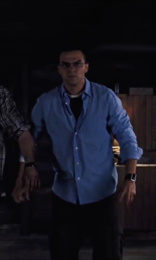 Jesse Williams with Yves Saint Laurent Regular-Fit Solid Cotton Dress Shirt in Cabin in the Woods