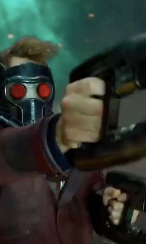 Chris Pratt with Chris Caldow (Concept Artist: Props) Custom Made Star Lord Blaster Gun in Guardians of the Galaxy Vol. 2