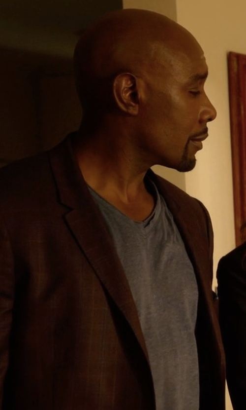 Morris Chestnut with Michael Michael Kors Classic-Fit Plaid Sport Coat in Rosewood