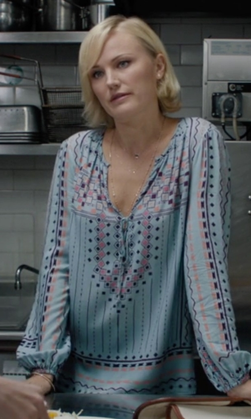 Malin Akerman with BCBGMAXAZRIA Evanna Printed Peasant Blouse in Billions