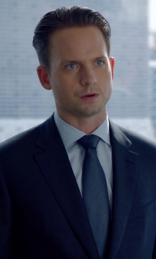 Patrick J. Adams with Charvet Textured Hairline-Stripe Silk Tie in Suits
