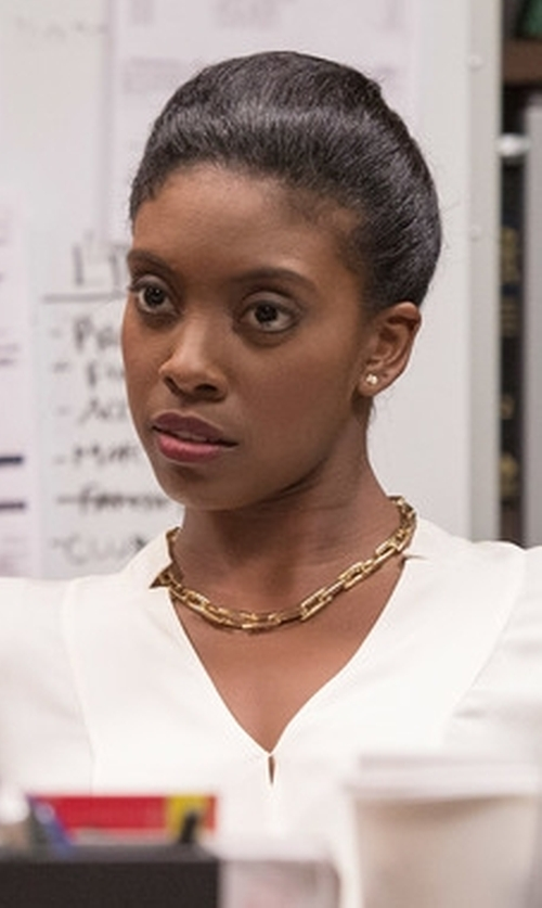 Condola Rashad with Joseph V-Neck Blouse in Billions