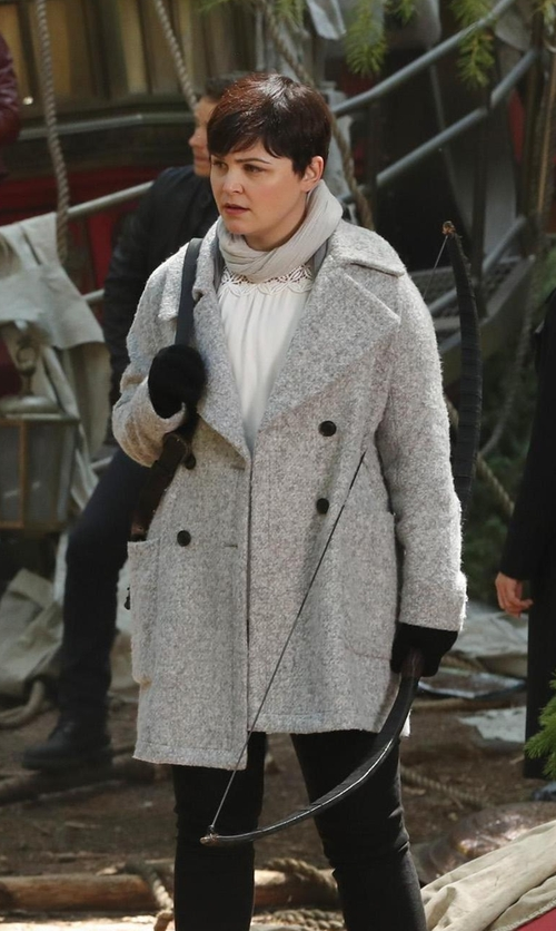 Ginnifer Goodwin with Elie Tahari Shayla Double-Breasted Wool-Blend Coat in Once Upon a Time