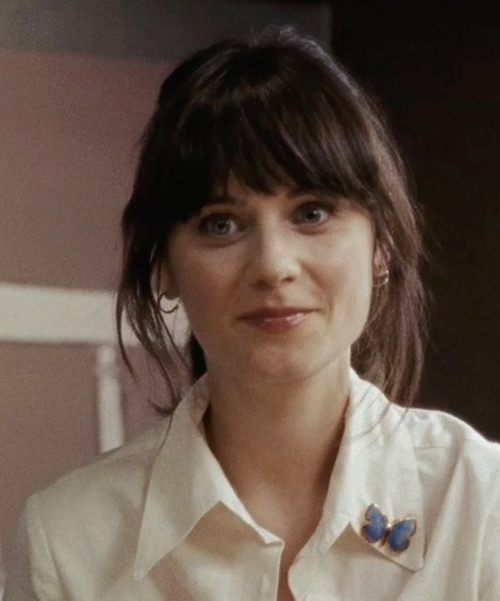 Zooey Deschanel with Fantasyard Butterfly Crystal Brooch in (500) Days of Summer