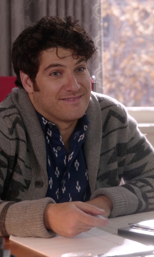 Adam Pally  with Banana-Republic Slim-Fit Custom 078 Wash Ikat Shirt in The Mindy Project
