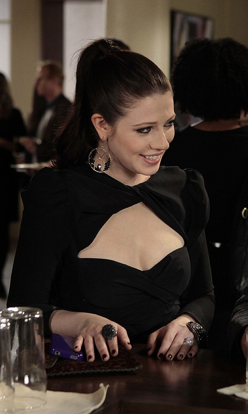Michelle Trachtenberg with Carven Long Sleeve Draped Dress in Gossip Girl