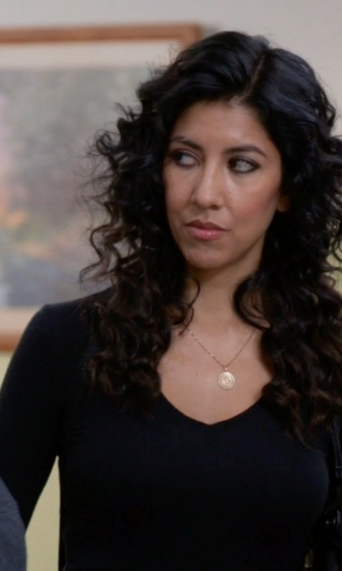 Stephanie Beatriz with Majestic Filatures Scoop Neck Long Sleeve T-Shirt in Brooklyn Nine-Nine