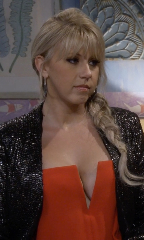 Jodie Sweetin with BB Dakota Christel Sequin Blazer in Fuller House