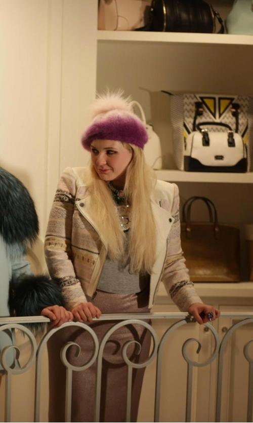 Abigail Breslin with BCBGMAXAZRIA Cody Embroidered Jacket in Scream Queens
