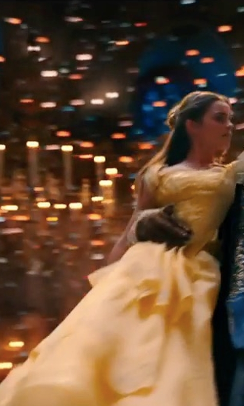 Emma Watson with Jacqueline Durran (Costume Designer) Custom Made Yellow Silk Dress in Beauty and the Beast