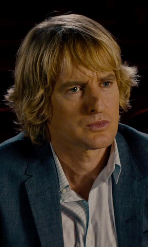 Owen Wilson with Yves Saint Laurent Regular-Fit Tonal Stripe Cotton Dress Shirt in She's Funny That Way