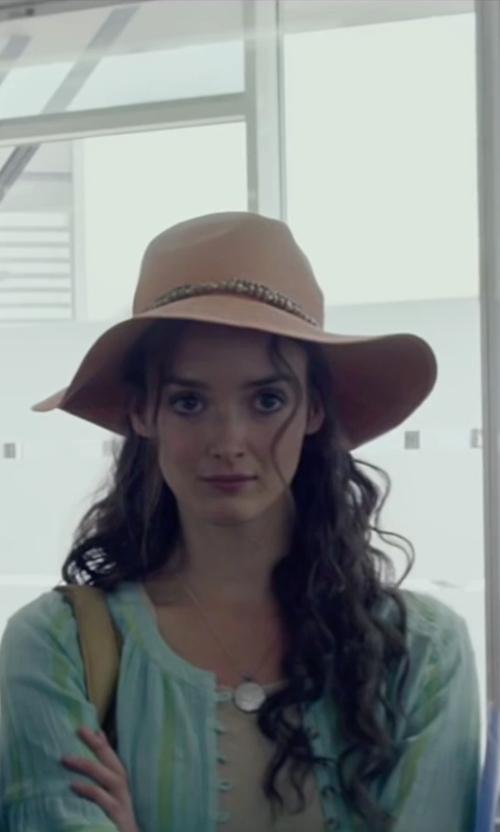 Charlotte Le Bon with River Island Beige Black Trim Floppy Hat in The Walk