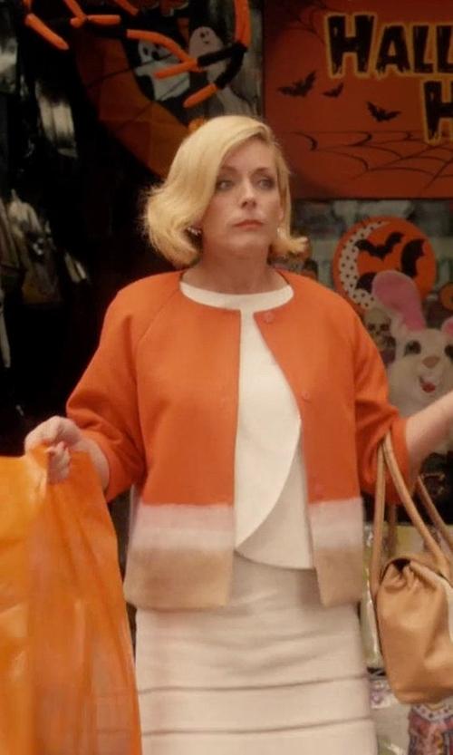 Jane Krakowski with Piazza Sempione Colorblock Short Wool Jacket in Unbreakable Kimmy Schmidt