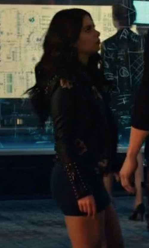 Emeraude Toubia with Blank NYC Moto Jacket in Shadowhunters