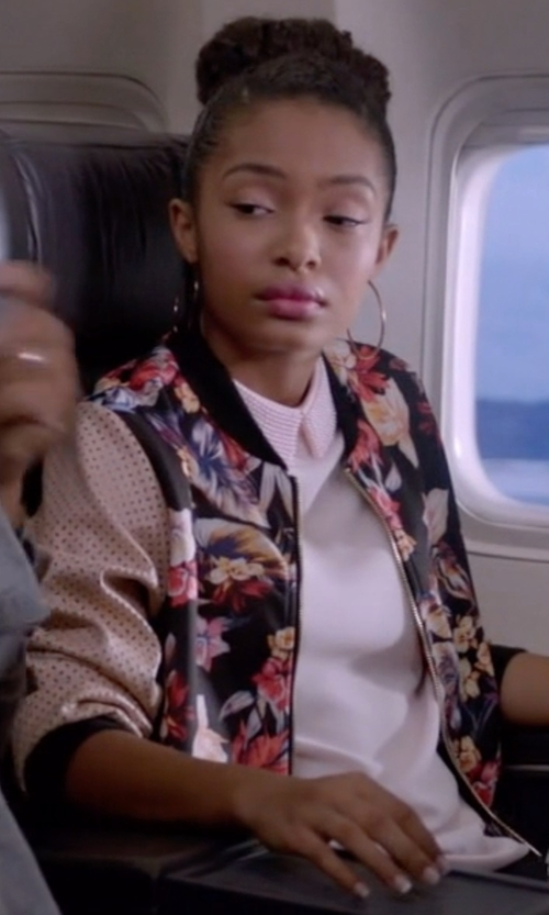 Yara Shahidi with Yoins Embroidered Floral Bomber Jacket in Black-ish