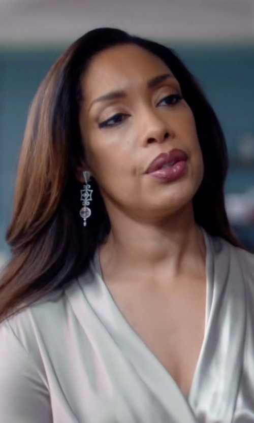 Gina Torres with Dana Kellin Stunning Double Drop Silver Pyrite and Labradorite Chandelier Earrings in Suits