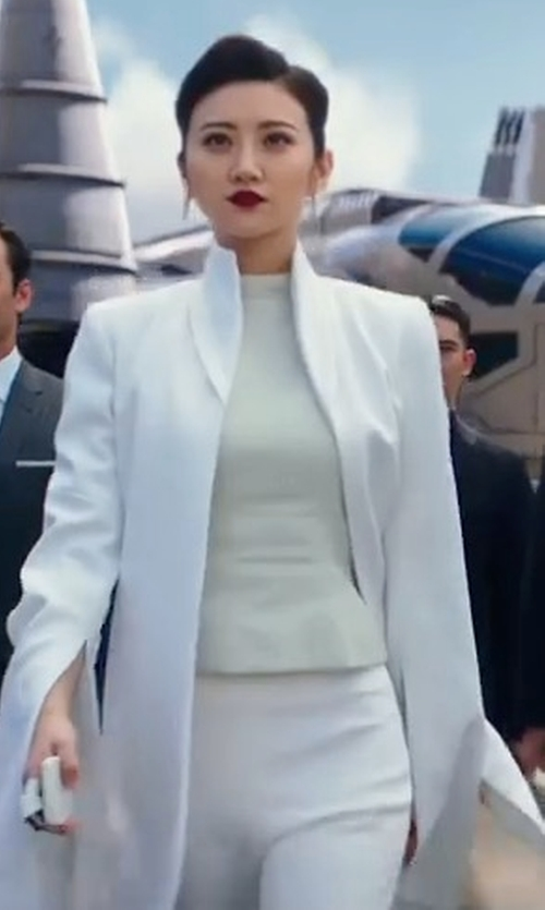 Tian Jing with Sosken Brushed Duster Coat in Pacific Rim: Uprising