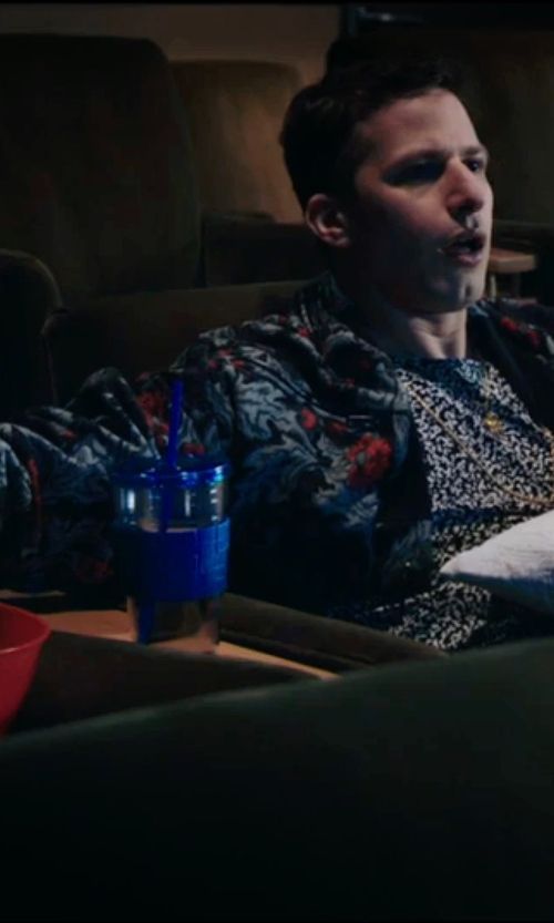 Andy Samberg with Religion Hawaiian Print Jersey Bomber Jacket in Popstar: Never Stop Never Stopping