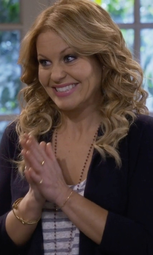 Candace Cameron Bure with Calvin Klein Long Sleeve Cropped Cardigan in Fuller House