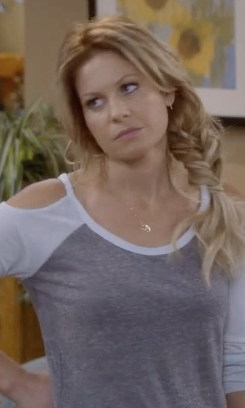 Candace Cameron Bure with Make + Model Cold-Shoulder Tee in Fuller House